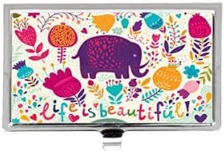 Life Is Beautiful Cute Elephant with Flowers Retro Custom Images Business Card Holder Name Case