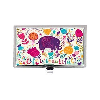 人生は美しいかわいい象と花レトロカスタムイメージビジネスカードホルダー名ケース   B01JIGXBKM