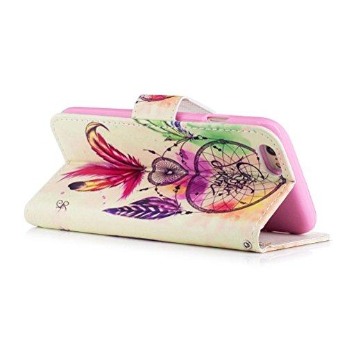 Funda iPhone 6/6S 4.7 pulgadas,SainCat Funda de cuero sintético tipo billetera con correa de cordón de Suave PU Carcasa Con Tapa y Cartera,Ranuras para Tarjetas y Billetera Funda de Flip Ranuras Tarje Campanula