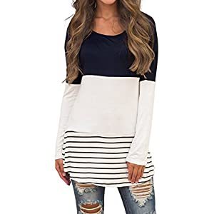 Sherosa Women's Casual Color Block Lace Inset Long Sleeve T Shirt Tunic Tops