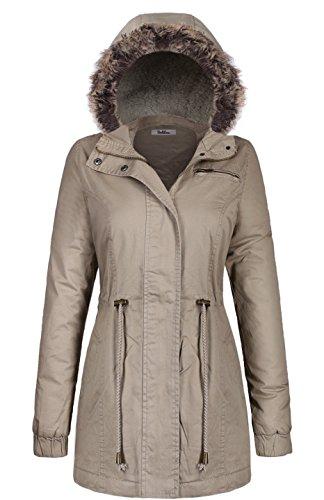 Length Down Cotton Puffer Jacket With Faux Fur Trim Hood Beige Gray M(JK2996) (Neck Puffer Jacket)
