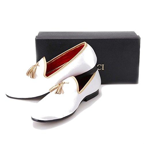 Slippers Tassel Velvet Handmade Men Gold With Loafers FERUCCI White wIUp6vq