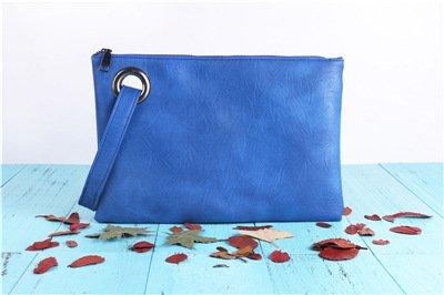 Azul Blue Simple Grueso Mujer Bolso Meoaeo con Moda Cremallera Retro 7Rwqvn8zT