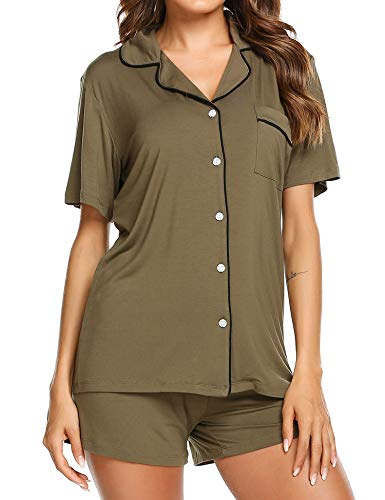 (Ekouaer Pjs Women's Soft Knit Sleepwear Two Piece Pajama Set (Army Green,M))