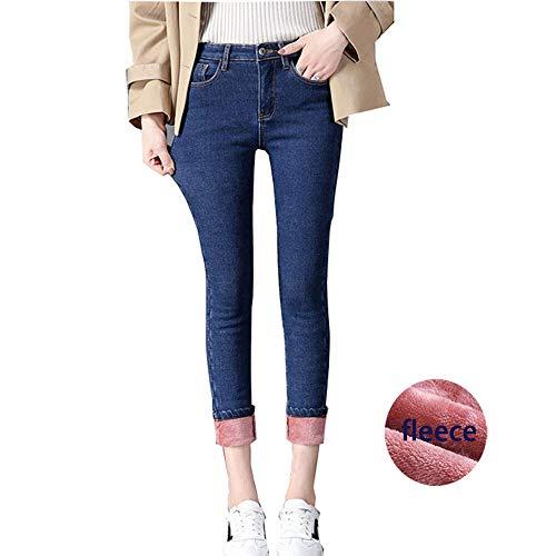 Pants Jeans Velvet (heipeiwa Womens Winter Jeans High Waist Skinny Pants Fleece Lined Zipper Fly Jeggings)