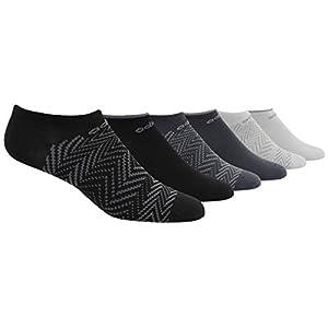 Adidas Socks Women's Superlite Ratio Print 6 Pack No Show Socks, Black/Onix/Light Onix/White/Clear Onix, Size 5-10