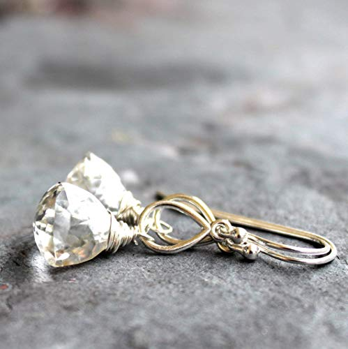 Crystal Quartz Earrings Sterling Silver Petite Trilliant Faceted Pyramid Dangles Teardrops