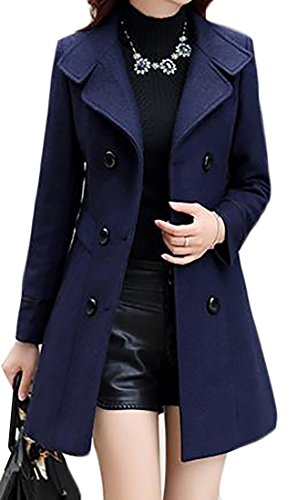 JWK Women's Double-breasted Slim Solid Wool-Blend Winter Pea Coats Navy Large