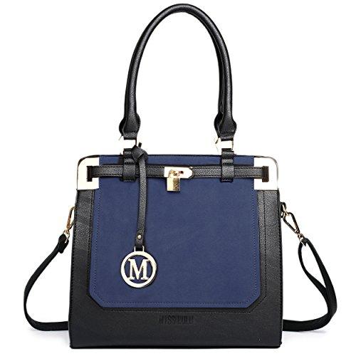Miss Lulu Piel Sintética candado estructurado bolso bandolera lt1607 azul marino/negro