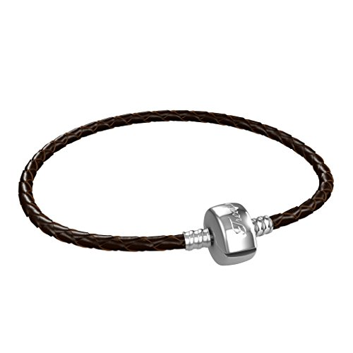 Leather Charm Bracelet For Men, Stainless Steel Clasp,