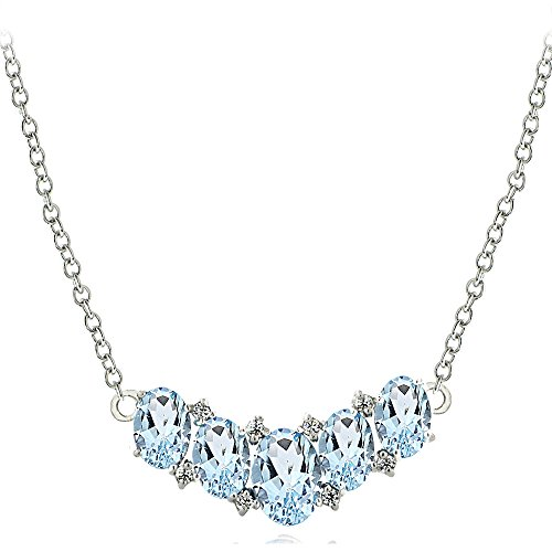 Sterling Silver Blue & White Topaz 5-Stone Necklace ()