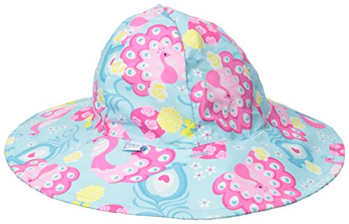 i play. Baby Girls' Reversible Brim Sun Protection Hat, Aqua Peacock, 0-6 Months (Peacock Baby)