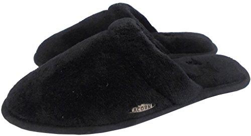Acorn Womens Micro Terry Scuff Bathhouse Slipper Black ZhNYM90