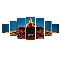 Startonight Huge Canvas Wall Art Eiffel Tower, USA Large Home Decor, Dual View Surprise Artwork Modern Framed Wall Art Set of 7 Panels Total 39.37 x 94.49 inch