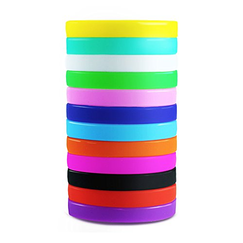 Etmact 12pcs Blank Silicone Wristbands, Soft And Comfortable Rubber Bracelets, Assorted Colors -