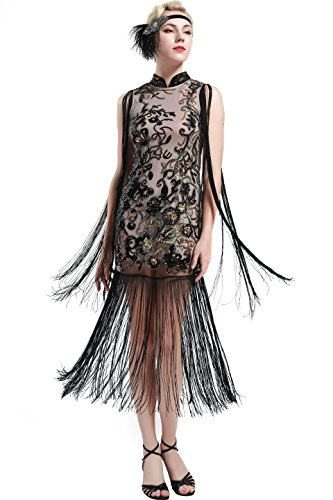 BABEYOND 1920s Flapper Dress Long Fringe Gatsby Dress 1920s Flapper Gatsby Costume Floral Beaded Vintage 1920s Cheongsam Style Dress (Champagne, Small)