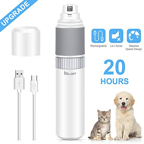 [Upgraded Version ] Dust2Oasis Dog Nail Grinder Pet Grooming Nail Clippers,Stepless Speed Regulation 20H Running Time Pet Paw Trimmer- Rechargeable Nail Grinder for Small Medium Large Pets Grooming