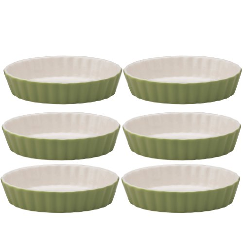 Mrs. Anderson's Baking Oval Quiche Creme Brulee, Ceramic Earthenware, Sage, Set of 6, 5-Inches x 3.25-Inches x 1-Inch