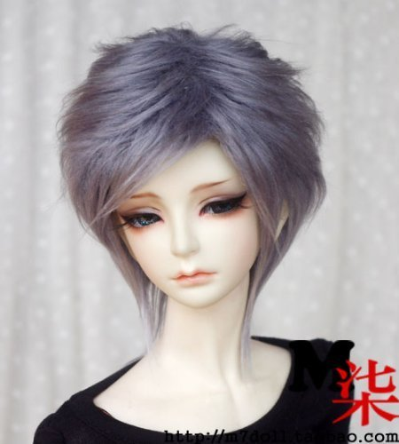 Doll Fur Wig (6-7inch(16-17cm): 1/6 BJD YOSD, Fur Wig Dollfie, Smoky-Gray Medium Hairstyle)