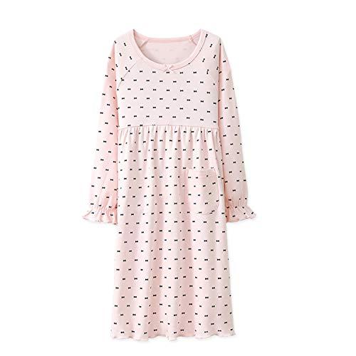 BLOMDE Girls Polka Dots Nightgowns Bowknot Sleepwear Cotton Nightdress for 3-12 Years