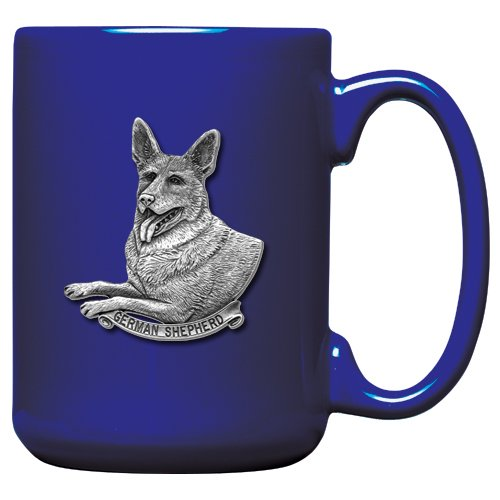 - 1pc, Pewter German Shepherd Coffee Mug, Cobalt
