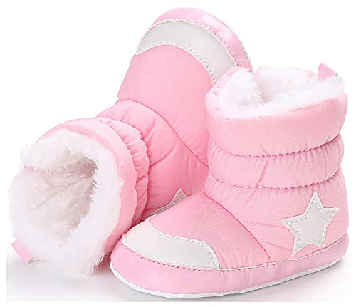 Anrenity Baby Girls Boys Faux Fur Warm Winter Boots Zipper Infant Soft Sole Snow Boots Crib Shoes BBS-016 Pink 0-6 Months