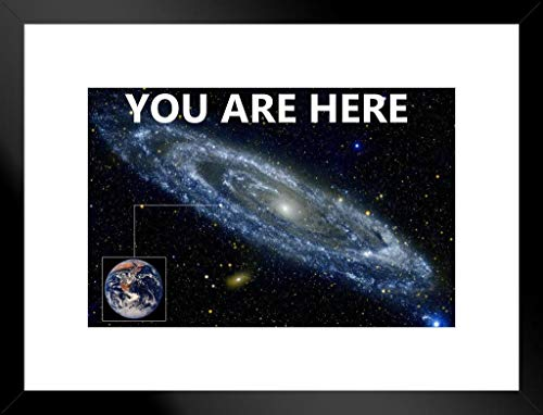 Poster Foundry You are Here Galaxy Retro Solar System Matted Framed Wall Art Print 20x26 inch ()