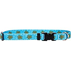 Yellow Dog Design Sea Turtles Dog Collar-Size Teacup-3/8 inch Wide and fits Neck Sizes 4 to 9 inches