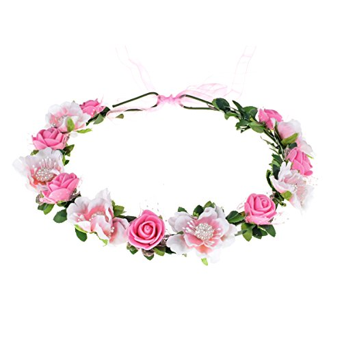 Love Sweety Girls Boho Rose Floral Crown Wreath Wedding Flower Headband Headpiece (Pink)