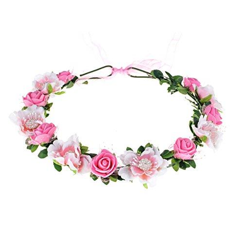 Love Sweety Girls Boho Rose Floral Crown Wreath Wedding Flower Headband Headpiece (Pink) (Rose Pink Accessories)