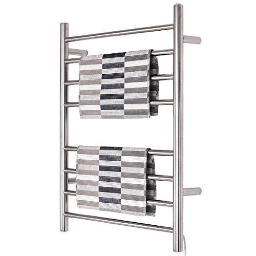 - WATERJOY Towel Warmer and Drying Rack, 8 Bars Heated Stainless Steel Towel Rack, Wall-Mounted