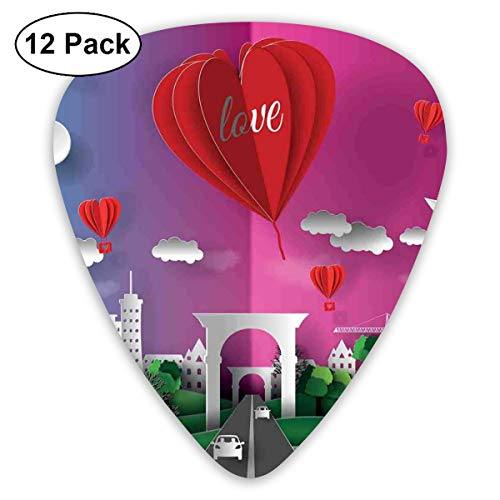 Celluloid Guitar Picks - 12 Pack,Abstract Art Colorful Designs,3D Style Multi Layer Effect Illustration Print Of City Gate And Hot Air Balloons,For Bass Electric & Acoustic Guitars.]()