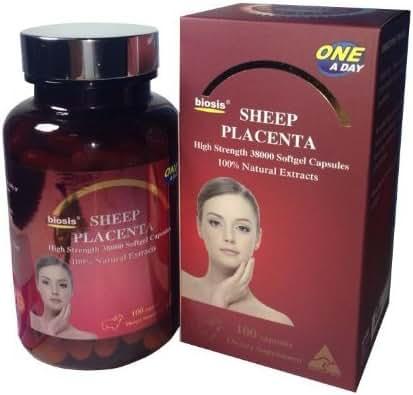 Biosis Sheep Placenta High Strength 38000 mg 100% Natural Extract 100 Softgel Capsules -Premium Supplement Grade Australia