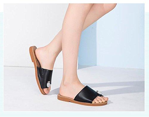 Low Heel Black Leisure Slippers Summer Toe AR7nqw0Bx5