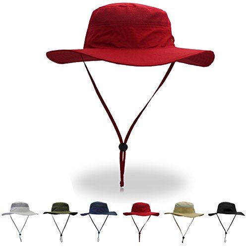 HaoDian Adjustable Drawstring Fishing Hat - UPF 50 Protection Boonie Hat for Men & Women, Wide Brim Sun Hat for Hiking, Camping, Boating & Outdoor Adventures (Red) (Boonie Hat Red)