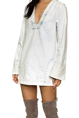 Free People Womens Cotton Bell Sleeve Tunic Top White XS (Cotton People Free Tunic)