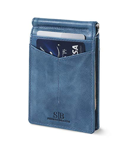 Travel Wallet RFID Blocking Bifold Slim Genuine Leather Thin Minimalist Front Pocket Wallets for Men Money Clip - Made From Full Grain Leather (Arctic Blue Rogue)