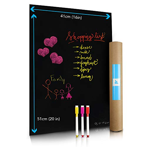 (Magnetic Wet Erase Blackboard Sheet for Kitchen Fridge 16x20'' | Stain Resistant Includes 3 Markers with Magnets | Refrigerator Black Board Best for Calendar, Organizer, Planner - Ideal for Families)