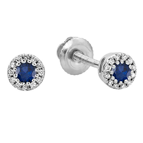 Dazzlingrock Collection 10K Round Blue Sapphire & White Diamond Cluster Halo Stud Earrings, White Gold ()
