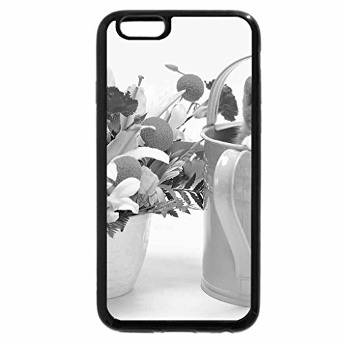 iPhone 6S Plus Case, iPhone 6 Plus Case (Black & White) - Spring Bouquet and Kitten