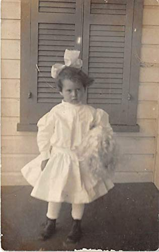 People and Children Photographed on Postcard, Old Vintage Antique Post Card Little girl with a dress and big bow Unused
