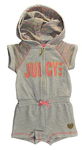 Juicy Couture Baby Girls' Marled Rainbow French Terry Hooded Romper, Gray, 0-3 Months
