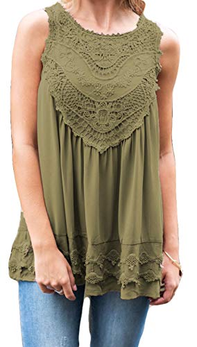 POGTMM Women's Summer Casual Sleeveless Lace Tops Lace Trim Tunic Tops Chiffon Blouses (L(12-14), Z-Army Green)