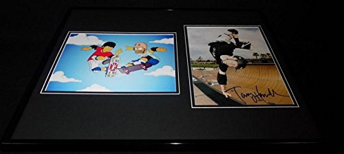 (Tony Hawk Signed Framed 16x20 Photo Display AW The Simpsons - Autographed Extreme Sports Photos)