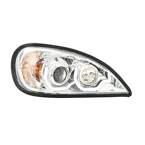 Grand General 89405 Freightliner Columbia Chrome Projection Headlight with White LED Running Light For 1996 To 2013  Passenger Side, 1 Pack