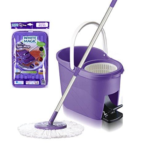 White Magic Foot Press 360 Spin Mop Bucket System + Microfiber head+ Extendable Handle + Bonus Dusting Mop Head