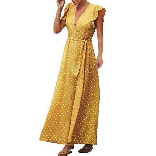 iBOXO Summer Bohemian Polka Dot Ruffle A-Line Party Dress Sleeveless V-Neck Sundress(Yellow,XL)