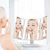 Jerrybox Trifold LED Lighted Makeup Mirror Touch Screen USB Charging with 16 Natural LEDs 180° Adjustable Cosmetic Makeup Folding Illuminating