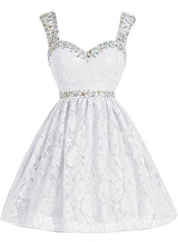 Bbonlinedress Vestido Corto de Encaje con Tirantes escote Corazón Blanco