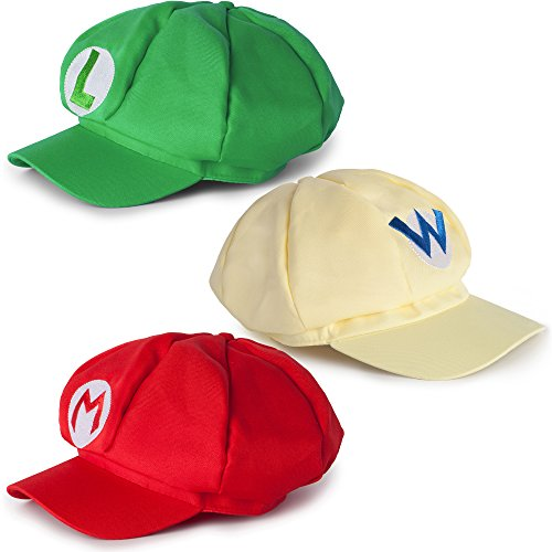 Super Mario Kart Hats: Mario, Luigi, Wario Caps for Halloween Costumes: Unisex Cosplay (3 Pack) - Diy Comic Con Costumes